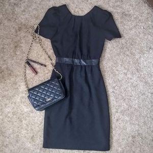 H&M Black Textured Sheath Dress